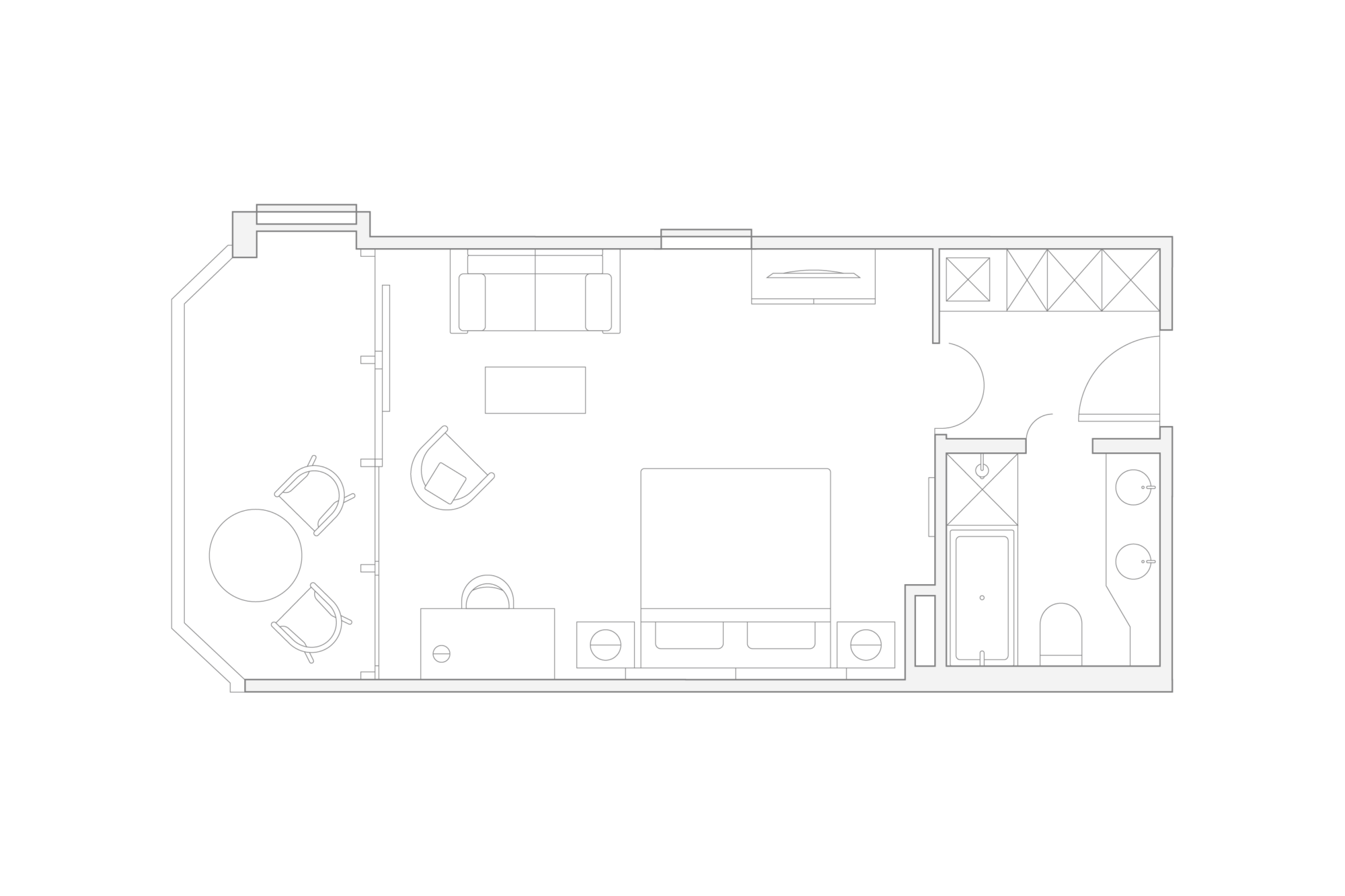 illustrated floorplan of the chalet room