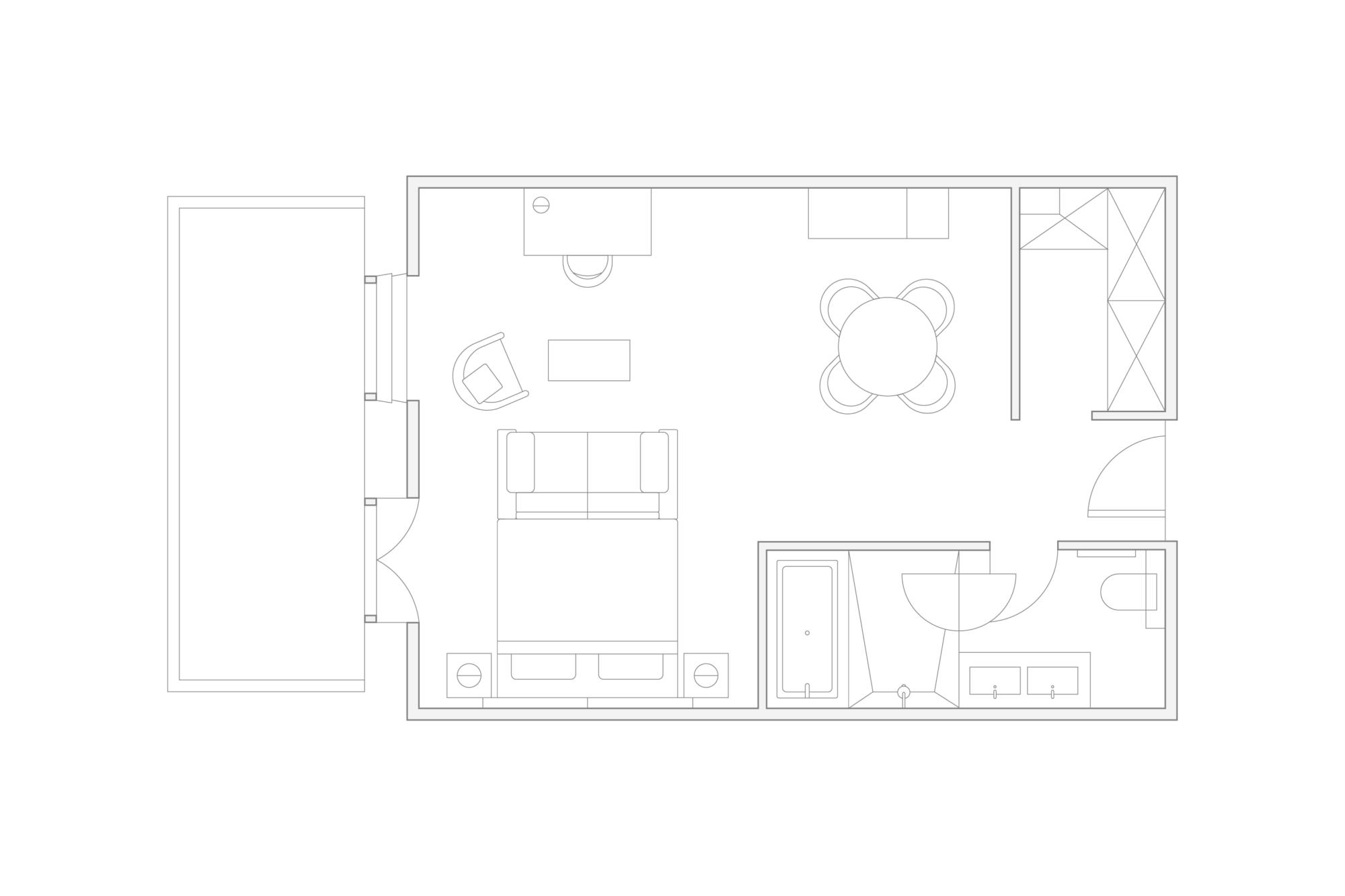 illustrated floorplan of the deluxe junior suite